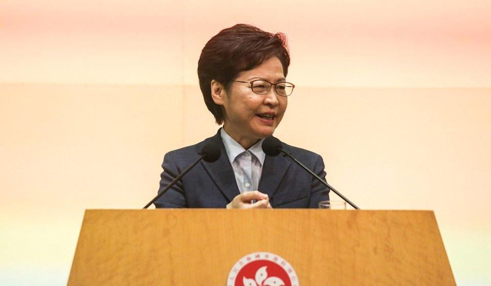 Hong Kong leader Carrie Lam addresses the media on Tuesday. Photo: Xiaomei Chen