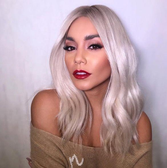 <p>Vanessa Hudgens' bleached blonde hair might be a wig but we're feeling her new platinum hue. </p>