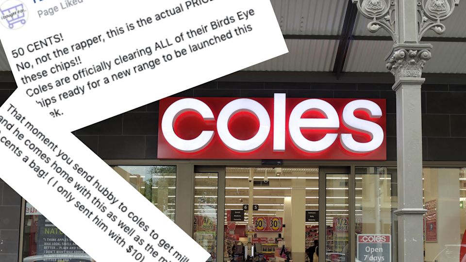 Coles has slashed the price of its Birds Eye chips. Images: Getty, Facebook