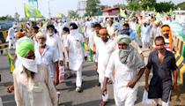 Bharti Kisan Union Ekta Ugraha members participate in a protest march from Bhatinda to Mansa overbridge against the central government's agriculture reform bill, on September 24, 2020 in Bathinda, India. (Photo by Sanjeev Kumar/Hindustan Times via Getty Images)