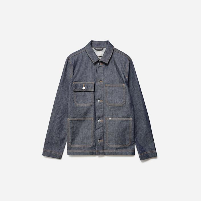 """<p><strong>everlane</strong></p><p>everlane.com</p><p><strong>$98.00</strong></p><p><a href=""""https://go.redirectingat.com?id=74968X1596630&url=https%3A%2F%2Fwww.everlane.com%2Fproducts%2Fmens-denim-chore-jacket-dark-indigo&sref=https%3A%2F%2Fwww.menshealth.com%2Fstyle%2Fg26014395%2Fbest-spring-jackets-men%2F"""" rel=""""nofollow noopener"""" target=""""_blank"""" data-ylk=""""slk:BUY IT HERE"""" class=""""link rapid-noclick-resp"""">BUY IT HERE</a></p><p>The design is inspired by old-school workwear, but slight stretch and some modern swag makes it feel completely of the moment. Like its inspiration, though, it's big on durability and quality, and at a really good price.</p>"""