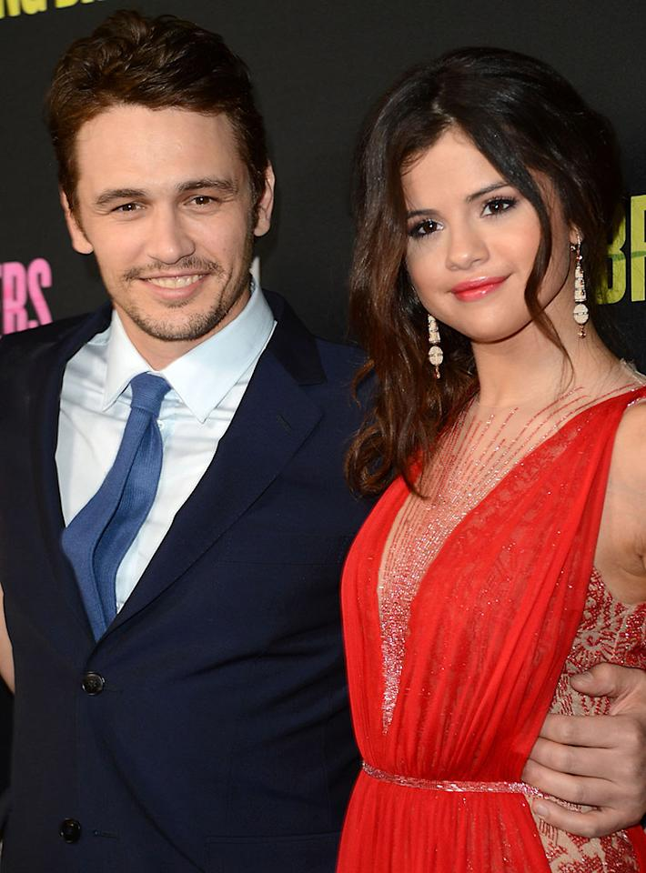 """James Franco and Selena Gomez attend the """"Spring Breakers"""" premiere at ArcLight Cinemas on March 14, 2013 in Hollywood, California."""