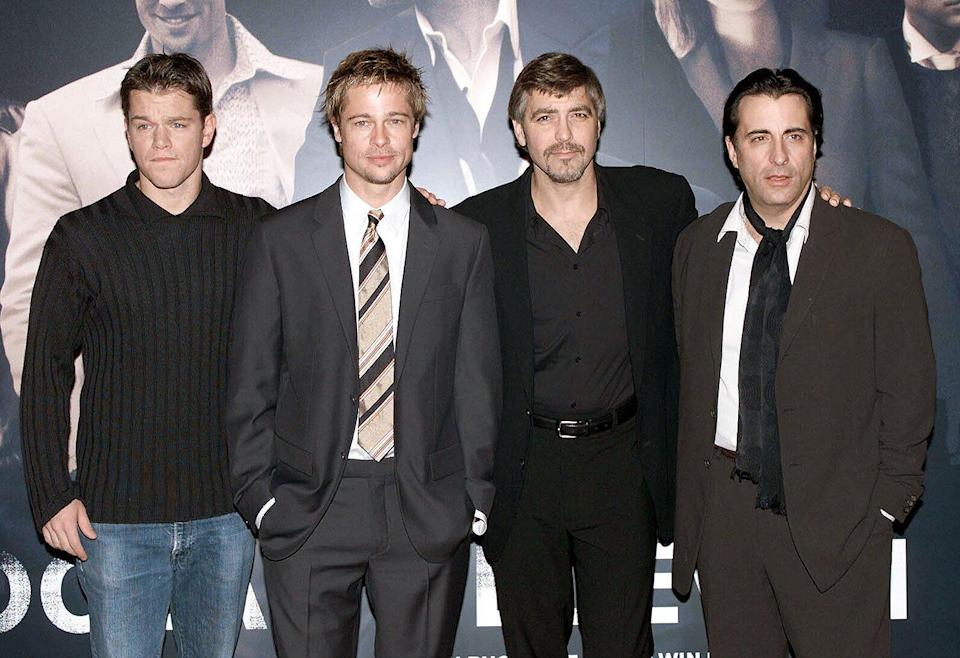 """Matt Damon, Brad Pitt, George Clooney and Andy Garcia attend a photocall to promote their new film """"Ocean's Eleven"""" at the Dorchester Hotel on November 2, 2001"""
