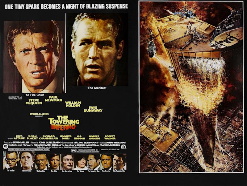 The Towering Inferno, poster, top: Steve McQueen, Paul Newman, bottom l-r: William Holden, Faye Dunaway, Fred Astaire, Susan Blakely, Richard Chamberlain, Jennifer Jones, O.J. Simpson, Robert Vaughn, Robert Wagner on poster art, 1974. (Photo by LMPC via Getty Images)