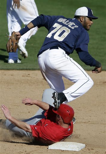San Diego Padres shortstop Jonathan Galvez, above, tangles with Los Angeles Angels' Luke Carlin as he completes a double play during the ninth inning in an exhibition spring training baseball game Wednesday, March 13, 2013, in Peoria, Ariz. (AP Photo/Gregory Bull)