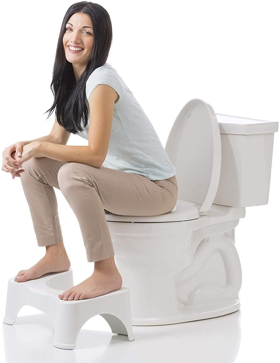 """This is one of those internet-famous stools you can put at the base of your toilet to prop your feet up on while you go. The placement helps align your colon to make the process a whole lot easier and faster (like, 20 seconds compared to several minutes).<br /><br /><strong>Promising review:</strong>""""First off, let me say I'd marry this if I could. I love Squatty Potty and Squatty Potty loves me. Anyways, back to my review.<strong>I've struggled with... inconsistency in the bathroom if you catch my drift.</strong>I've tried everything from laxatives (natural and non) to drinking hella water and increasing my coffee intake. I knew I had to go, but I never really went.. all the way. But no longer! There's a reason these things are selling.<strong>It's so much easier on your body in almost every aspect. After you use a Squatty Potty, every potty without one just seems... sad and unsatisfying.</strong>I'm thinking about buying another one and taking it to the office. No shame."""" —<a href=""""https://www.amazon.com/gp/customer-reviews/R4XWUQCD5OY0Z?ASIN=B00ESKVN7W&ie=UTF8&linkCode=ll2&tag=huffpost-bfsyndication-20&linkId=52226e2f1365fa9b1e724ec9b426f56a&language=en_US&ref_=as_li_ss_tl"""" target=""""_blank"""" rel=""""noopener noreferrer"""">Gbell<br /></a><br /><strong>Get it from Amazon for<a href=""""https://www.amazon.com/Squatty-Potty-Original-Bathroom-Toilet/dp/B00ESKVN7W?&linkCode=ll1&tag=huffpost-bfsyndication-20&linkId=c9c5d684e5ab0ad3a3b95048f1e7f82d&language=en_US&ref_=as_li_ss_tl"""" target=""""_blank"""" rel=""""noopener noreferrer"""">$24.99</a>.</strong>"""