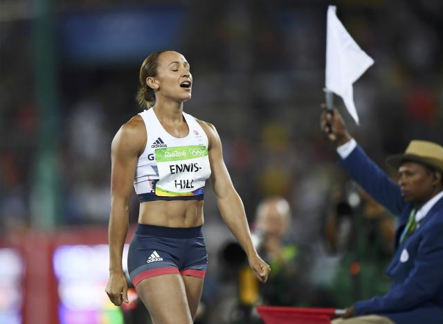 2016 Rio Olympics - Athletics - Women's Heptathlon Javelin Throw - Groups - Olympic Stadium - Rio de Janeiro, Brazil - 13/08/2016. - Jessica Ennis-Hill (GBR) of Britain reacts after a throw competing in Javelin group A women's heptathlon. REUTERS/Dylan Martinez FOR EDITORIAL USE ONLY. NOT FOR SALE FOR MARKETING OR ADVERTISING CAMPAIGNS.