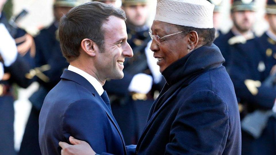 French President Emmanuel Macron welcomes Chad's leader Idriss Déby prior a lunch at the Elysee Presidential Palace - 12 November 2019