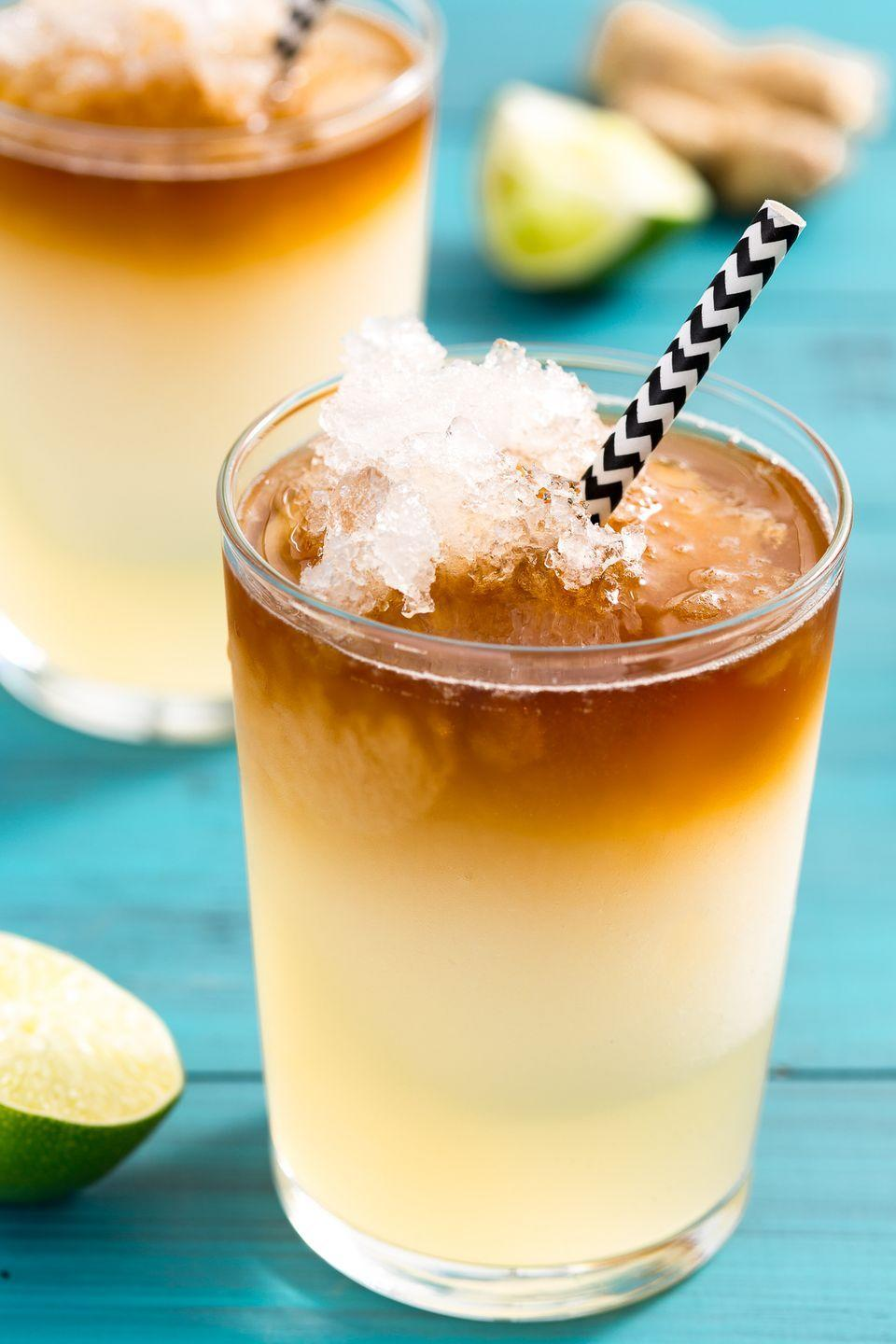 """<p>Spicy ginger beer shines in this grown-up slushie.</p><p>Get the recipe from <a href=""""https://www.delish.com/cooking/recipe-ideas/recipes/a46973/frozen-dark-stormy-drink-recipe/"""" rel=""""nofollow noopener"""" target=""""_blank"""" data-ylk=""""slk:Delish"""" class=""""link rapid-noclick-resp"""">Delish</a>.</p>"""