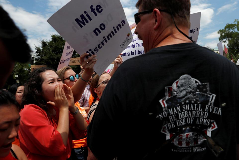 <p>A man attending a 2nd amendment rally yells at counter-protesters outside of the U.S. Supreme Court in Washington, U.S., June 26, 2018.(Photo: Leah Millis/Reuters) </p>