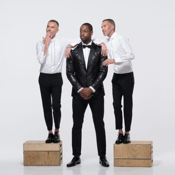 Dean and Dan Caten, founders of DSquared2, and Dwyane Wade, in items from their new capsule collection.