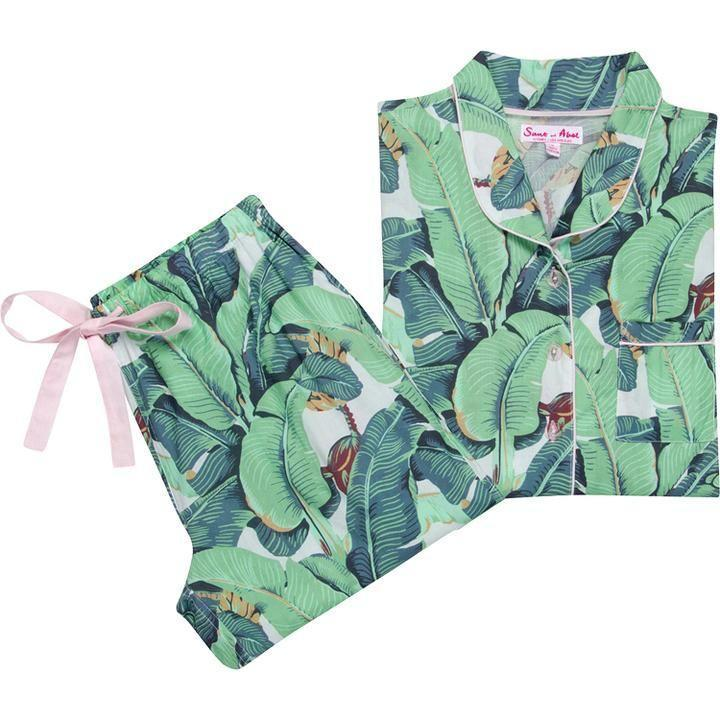 """<p>santandabel.com</p><p><strong>$198.00</strong></p><p><a href=""""https://santandabel.com/collections/banana-leaf/products/womens-banana-leaf-shirt-pj-pant-set"""" rel=""""nofollow noopener"""" target=""""_blank"""" data-ylk=""""slk:Shop Now"""" class=""""link rapid-noclick-resp"""">Shop Now</a></p><p>Fans of CW Stockwell's <a href=""""https://www.housebeautiful.com/design-inspiration/a26872759/martinique-wallpaper-history/"""" rel=""""nofollow noopener"""" target=""""_blank"""" data-ylk=""""slk:iconic print"""" class=""""link rapid-noclick-resp"""">iconic print </a>can now sport the beloved pattern in bed as well as on their walls and upholstery. </p>"""