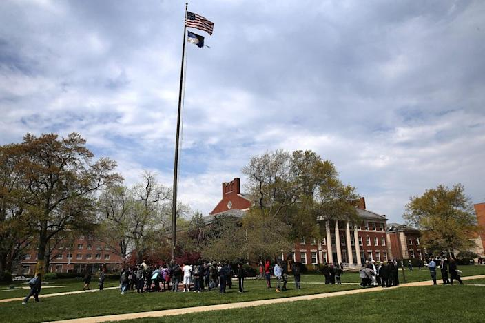 Students and members of the administration at Howard University hold a rally on the campus of the university April 11, 2016 in Washington, DC. (Photo by Win McNamee/Getty Images)