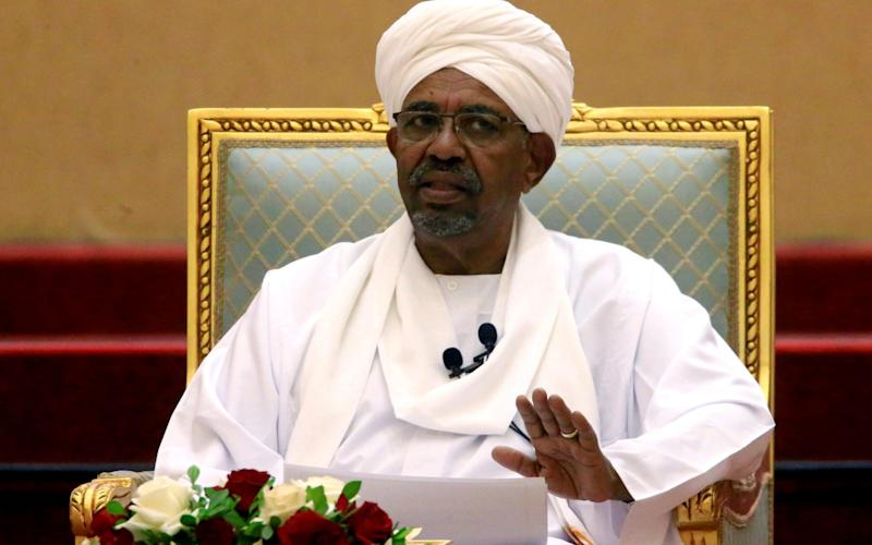 Sudanese president Omar al-Bashir speaking at the Presidential Palace in April, before he was deposed - Reuters