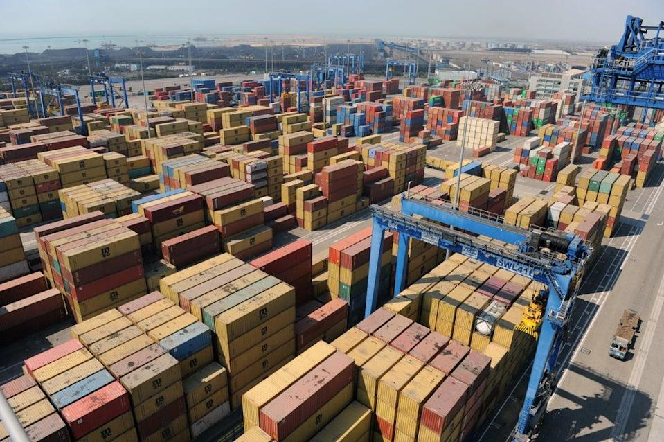 File image: Stacked containers are seen at Mundra Port in Gujarat, India (AFP via Getty Images)