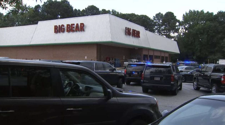 Police outside the Big Bear Supermarket in Decatur