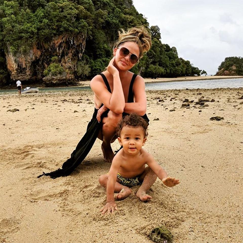 The cookbook author and her baby boy enjoyed some fun in the sun during a trip to the lush and stunning Phi Phi Islands.