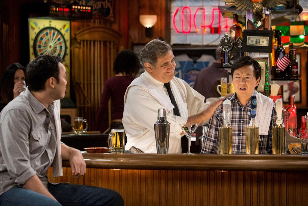 "Steve Byrne, Dan Lauria, and Ken Jeong in the ""Sullivan & Son"" Season 2 Premiere, ""The Pilot, One More Time."""
