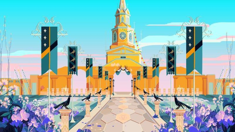 The city gate of Cartagena de Indias in Columbia transformed into a fantasy video game setting.
