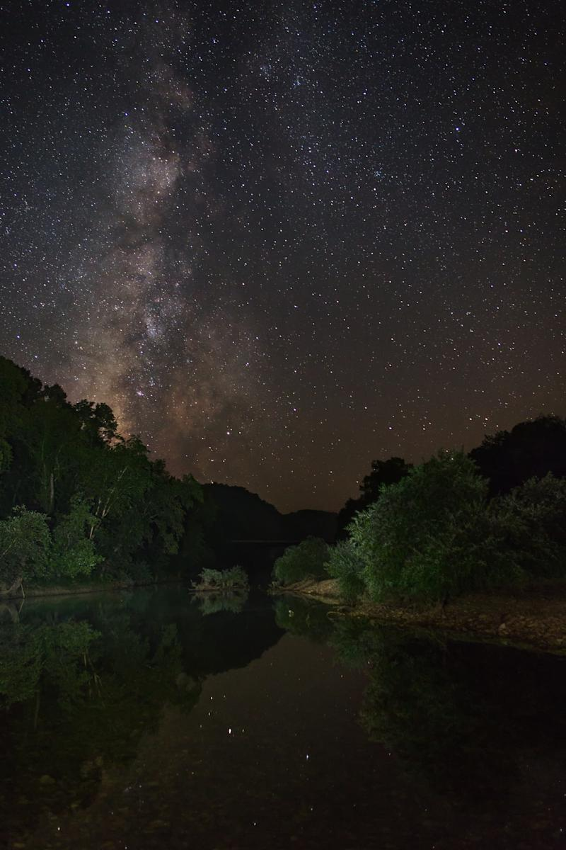 The Milky Way above Grinders Ferry at Buffalo National River Park.