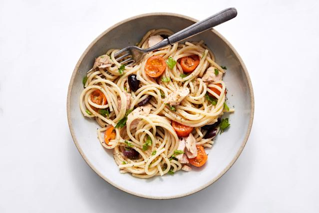 "<h1 class=""title"">Spaghetti with Tuna, Tomatoes and Olives - HERO</h1> <cite class=""credit"">Photo by Joseph De Leo, Food Styling by Kat Boytsova</cite>"