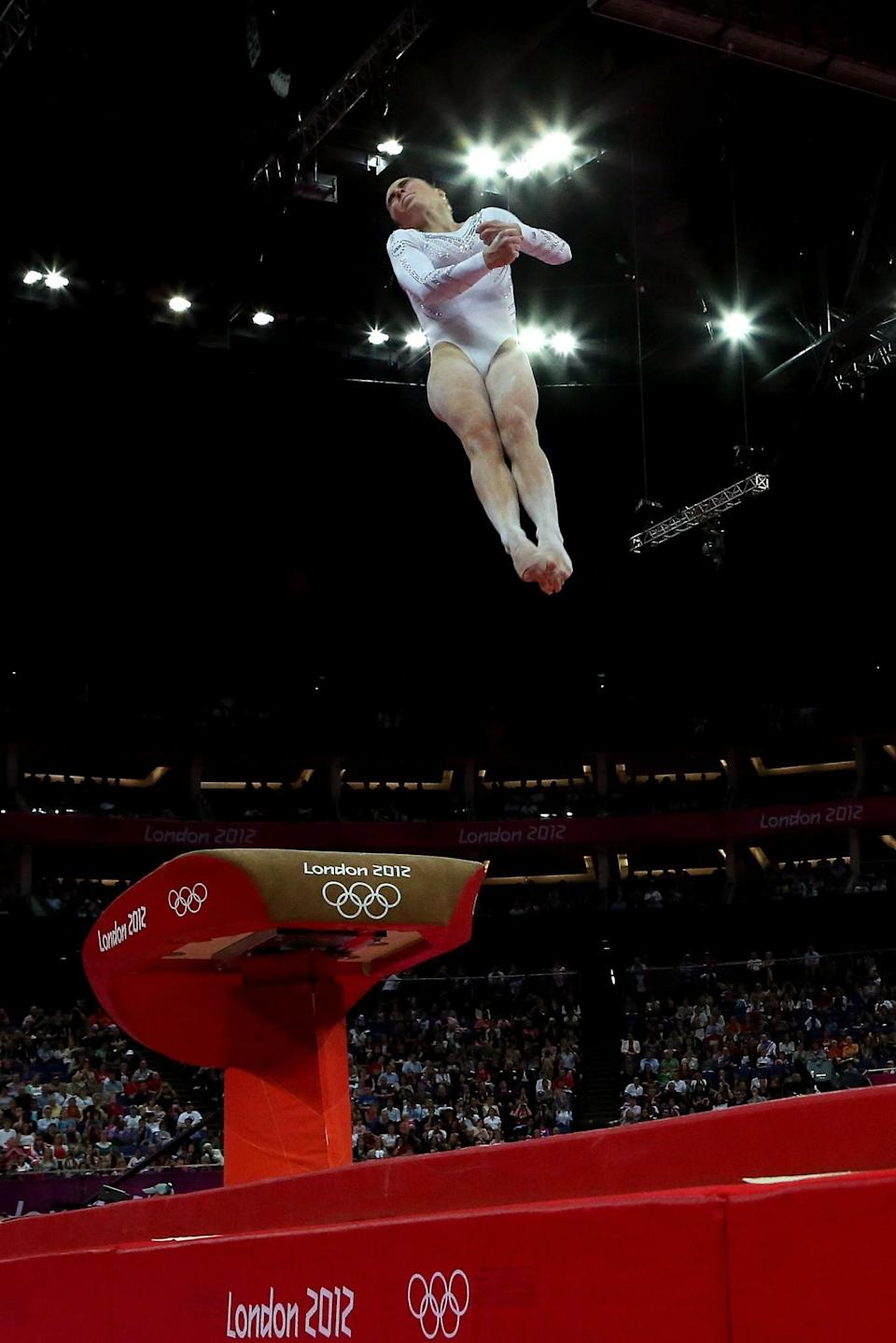 <p>McKayla Maroney Maroney of United States competes on the vault during the Artistic Gymnastics Women's Vault final on Day 9 of the London 2012 Olympic Games at North Greenwich Arena on August 5, 2012 in London, England. (Photo by Ronald Martinez/Getty Images) </p>
