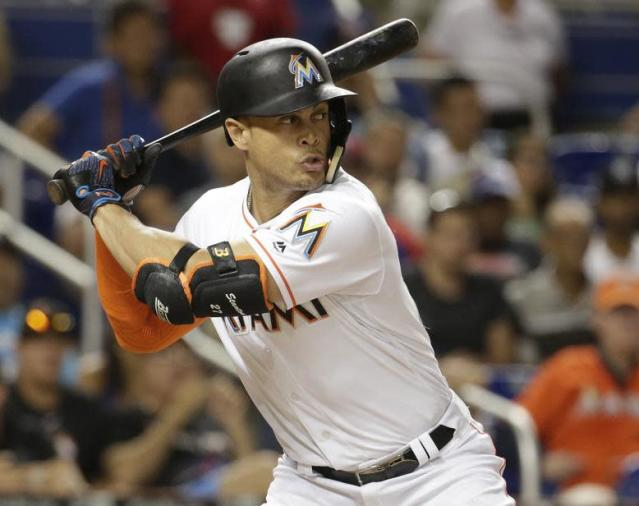 """The New York Yankees are set to acquire <a class=""""link rapid-noclick-resp"""" href=""""/mlb/players/8634/"""" data-ylk=""""slk:Giancarlo Stanton"""">Giancarlo Stanton</a> from the <a class=""""link rapid-noclick-resp"""" href=""""/mlb/teams/mia/"""" data-ylk=""""slk:Miami Marlins"""">Miami Marlins</a> and won't have to part with any key prospects to do so. (AP)"""