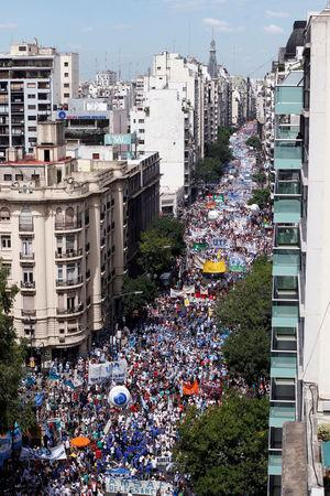 Thousands of teachers took to the streets, delaying the first day of school for millions of children, as part of a two-day national strike demanding a wage increase, in Buenos Aires, Argentina March 6, 2017. REUTERS/Martin Acosta