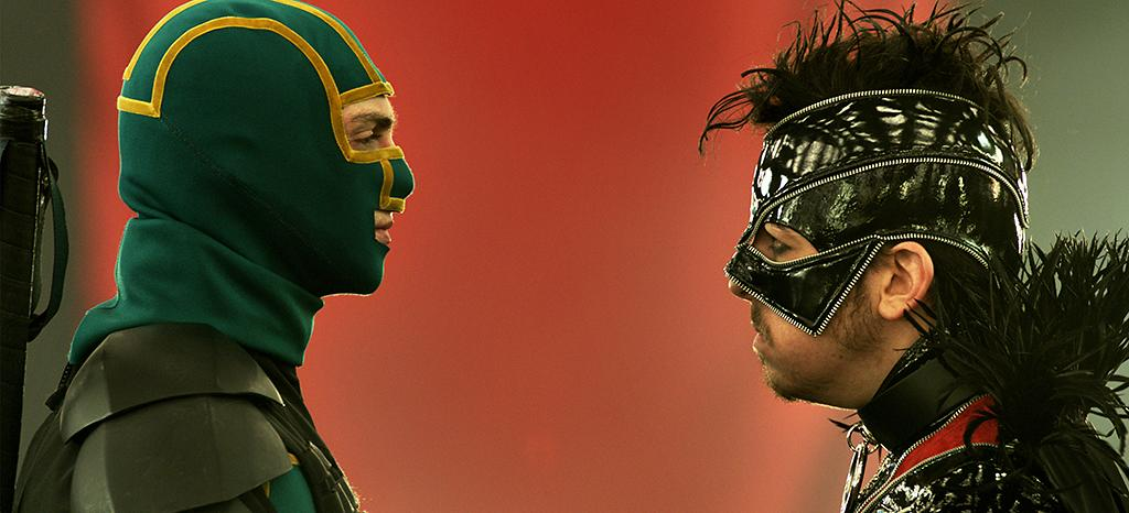 """Aaron Taylor-Johnson and Christopher Mintz-Plasse in Universal Pictures' """"Kick-Ass 2"""" - 2013"""