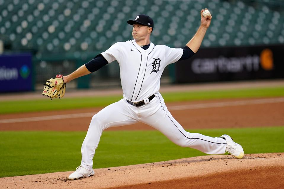 Detroit Tigers pitcher Tarik Skubal throws against the Kansas City Royals in the first inning of a baseball game in Detroit, Wednesday, Sept. 16, 2020.