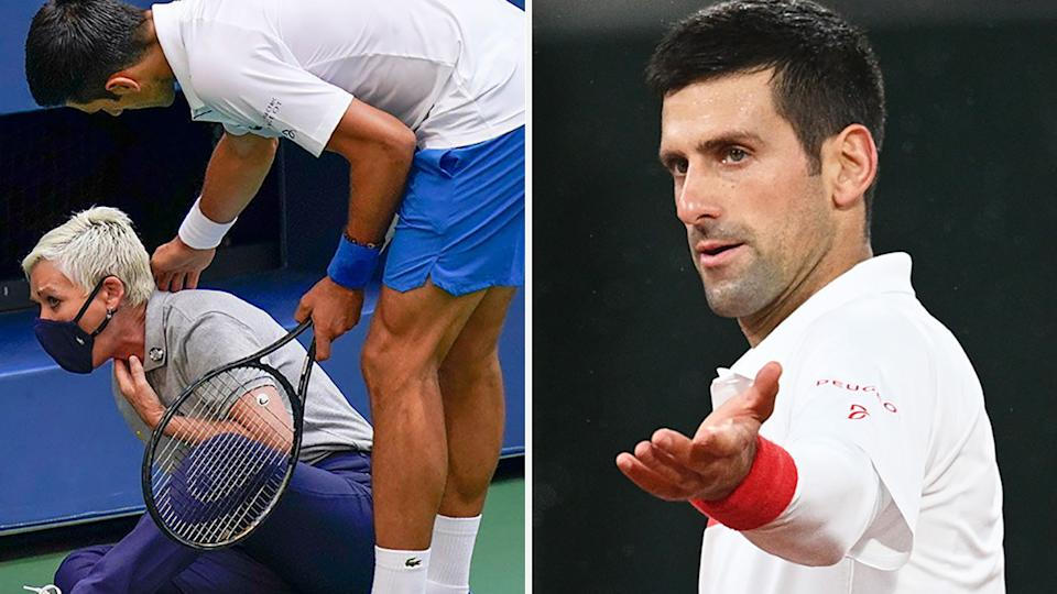 A 50-50 split image shows Novak Djokovic attending to a line judge at the US Open on the left, and a picture of him during the French Open on the right.