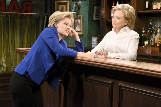 <p>They're multiplying! We'll forgive Bill Clinton (played by Darrell Hammond) for thinking so when he stumbled into a bar to see his wife, Hillary (played by Kate McKinnon), talking to a bartender who looked a lot like her… because it was the <i>real</i> Hillary Clinton. If it was part of Clinton's quest to appear more fun and likeable, the Democratic Presidential candidate proved she's game to poke fun at herself — and she showed off a pretty good Donald Trump impression to boot. The Oval Office should be a breeze after Studio 8H. <i>— KW</i></p><p><i>(Credit: Dana Edelson/NBC)</i><br></p>