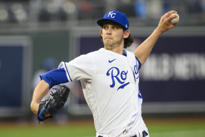 Kansas City Royals starting pitcher Daniel Lynch throws against the Cleveland Indians during the first inning of a baseball game Monday, May 3, 2021, in Kansas City, Mo. (AP Photo/Reed Hoffmann)