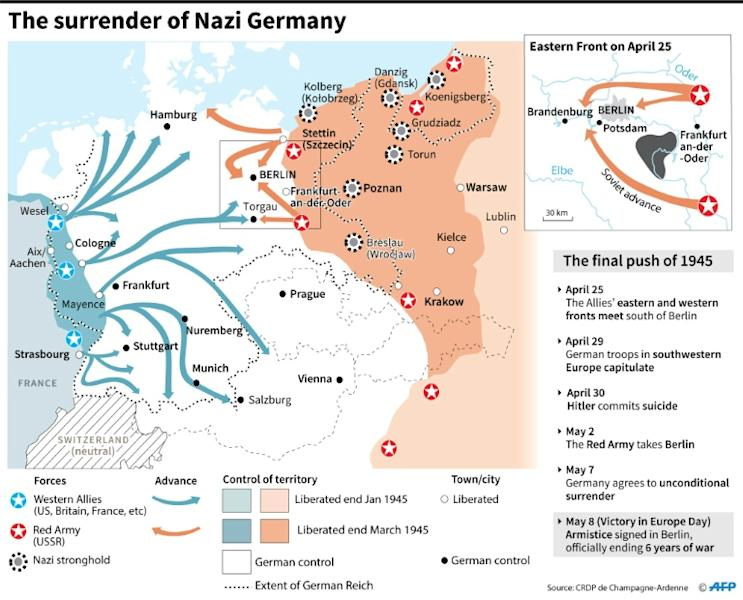 Map showing the last stages of World War II 1945, leading to the armistice of May 8. (AFP Photo/)