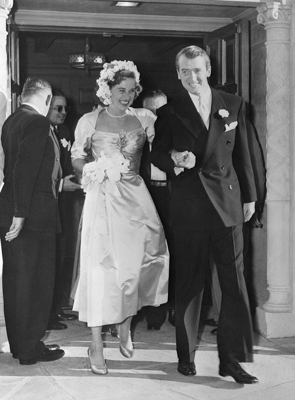 <p>Jimmy Stewart was known as Hollywood's proverbial bachelor until he traded in his lifestyle for socialite Gloria Hatrick McLean. The leading man wed McLean in Los Angeles at Brentwood Presbyterian Church in 1949. The couple remained married until McLean's death in 1994. </p>