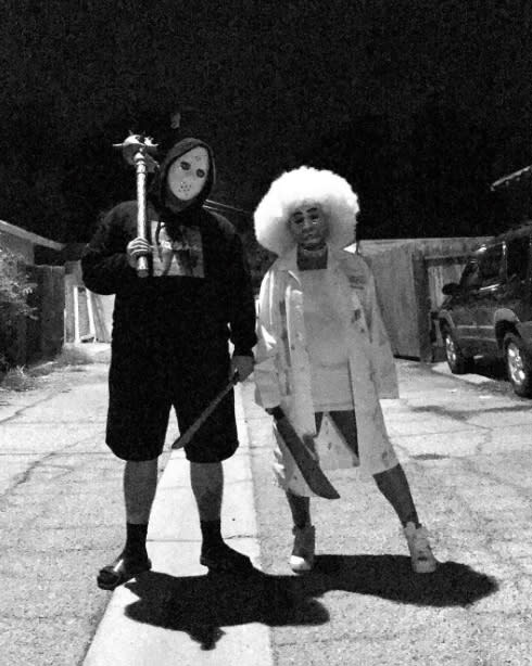"<p>Dressed as mace- and machete-wielding crazies, the <i>Rob & Chyna</i> stars showed that despite their tumultuous relationship, they're perfect for each other. ""Find somebody that's just as crazy as you !"" wrote Chyna. (Photo: <a href=""https://www.instagram.com/p/BMQWGM7hUvt/?taken-by=blacchyna"" rel=""nofollow noopener"" target=""_blank"" data-ylk=""slk:)"" class=""link rapid-noclick-resp"">) </a></p>"