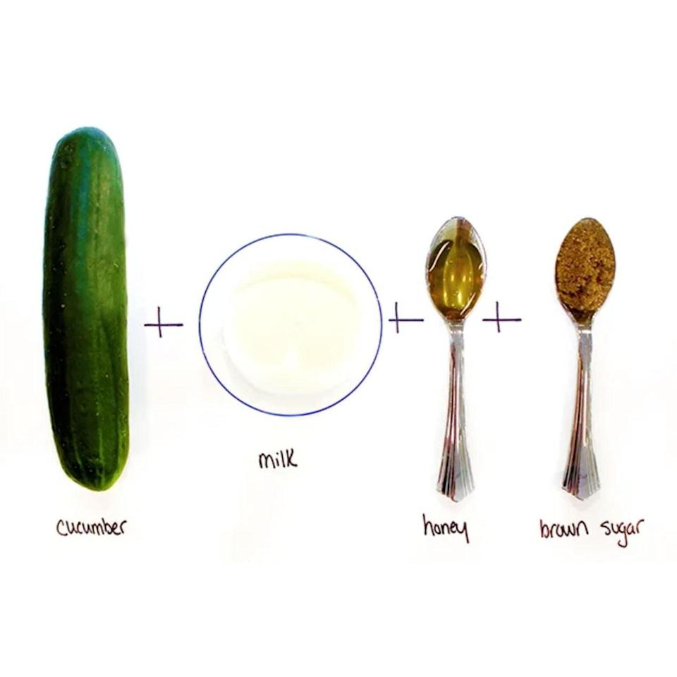"""<p><strong>Ingredients:</strong></p> <ul> <li>1/2 cucumber, pureed in a food processor</li> <li>1/4 cup milk</li> <li>1 tablespoon honey</li> <li>1 tablespoon brown sugar</li> </ul> <p>It is cooling, reduces <a href=""""http://www.allure.com/makeup-looks/2014/concealing-redness-with-makeup?mbid=synd_yahoo_rss"""" rel=""""nofollow noopener"""" target=""""_blank"""" data-ylk=""""slk:redness,"""" class=""""link rapid-noclick-resp"""">redness,</a> and smells so good that you will feel — for a moment — like you're in a spa, not your kitchen. This mask exfoliates gently and leaves the skin noticeably softer after just one use.</p>"""