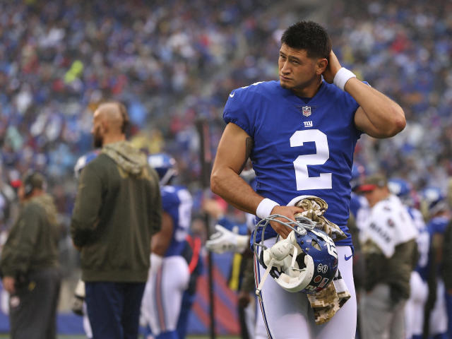 New York Giants' Aldrick Rosas will reportedly be released after official charges in a hit-and-run incident. (AP Photo/Rich Schultz)