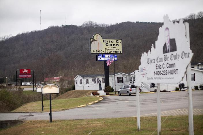 This Monday, Dec. 19, 2016 photo shows the law offices of Eric C. Conn in Stanville, Ky. Many of Conn's clients have lost their Social Security disability checks after he became the subject of a federal fraud investigation. (AP Photo/David Stephenson)