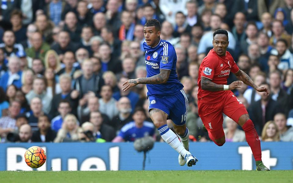 Chelsea's Kenedy (left) and Liverpool's Nathaniel Clyne (right) battle for the ball - Darren Walsh/Chelsea FC