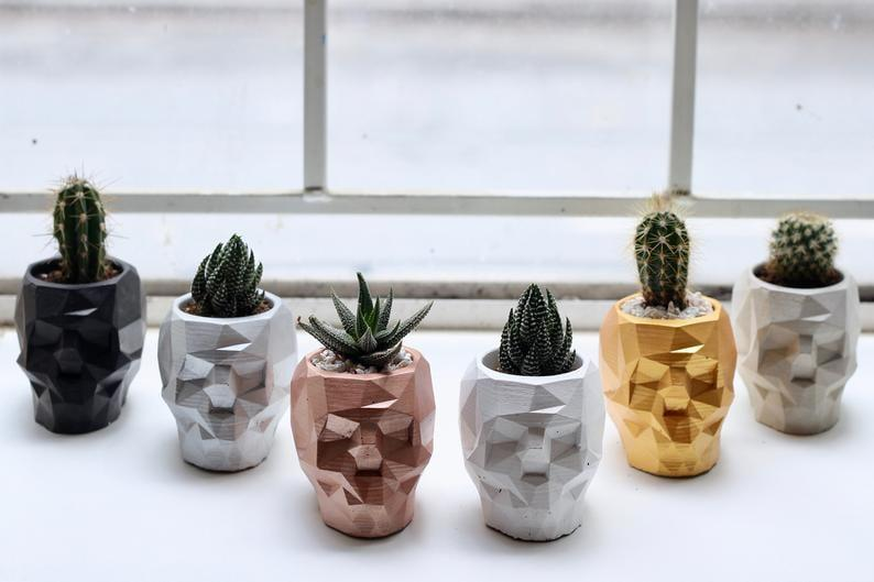 "<p>This <a href=""https://www.popsugar.com/buy/Geometric-Skull-Concrete-Planter-498555?p_name=Geometric%20Skull%20Concrete%20Planter&retailer=etsy.com&pid=498555&price=28&evar1=casa%3Aus&evar9=46721965&evar98=https%3A%2F%2Fwww.popsugar.com%2Fhome%2Fphoto-gallery%2F46721965%2Fimage%2F46722056%2FGeometric-Skull-Concrete-Planter&prop13=api&pdata=1"" rel=""nofollow"" data-shoppable-link=""1"" target=""_blank"" class=""ga-track"" data-ga-category=""Related"" data-ga-label=""https://www.etsy.com/listing/616883648/geometric-skull-concrete-planter-cement?ref=dflc_1_4"" data-ga-action=""In-Line Links"">Geometric Skull Concrete Planter</a> ($28) comes in rose gold, black, silver, plain gold, and creamy concrete. (We suggest buying them all.)</p>"
