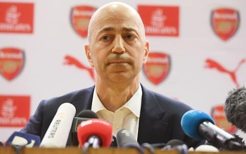 """It was an extraordinary press conference; an unprecedented press conference. A football club chief executive spoke about the departure of a manager and listed encouraging George Weah to become not only the best footballer in the world but a politician and the president of his country, Liberia, among his greatest achievements. That statement summed up Arsene Wenger, a football coach who became a manager of statesmen, with all-encompassing quality but whose greatest achievements took place some time ago. After all, he worked with Weah at Monaco and although Wenger is leaving Arsenal, there is no indication he is retiring from football. He wants another job. When asked to name his most memorable moments working with Wenger, it felt telling that Ivan Gazidis mentioned the FA Cup triumphs – three of them, in 2014, 2015, and 2017 – and hesitated before adding a Champions League victory over Barcelona. That, though, ended in defeat with Arsenal's 2-1 advantage in 2011 being overturned in the second leg to provoke another last-16 exit. Gazidis quickly moved on to the private conversations he had had with Wenger – """"speaking to him in private moments"""" – and addressed the human qualities of the now outgoing Arsenal manager. It was an awkward blurring of the lines between public and private given that he then said he did not want to speak about the latter. Arsenal chief executive Ivan Gazidis refused to drawn on whether Arsene Wenger jumped first Credit: GETTY IMAGES The problem for Gazidis, who arrived at Arsenal in 2008, is that Wenger's greatest on-field achievements occurred before his appointment. That is not to blame Gazidis, but it meant that while he spoke of Wenger having """"reinvented the game"""" and having """"transformed the beautiful game"""" that referred to the first half of his remarkable career at Arsenal. Wenger's departure was always going to be a tricky path to negotiate and as Gazidis walked into the press-conference theatre, open-shirted and clutching a piece of pap"""