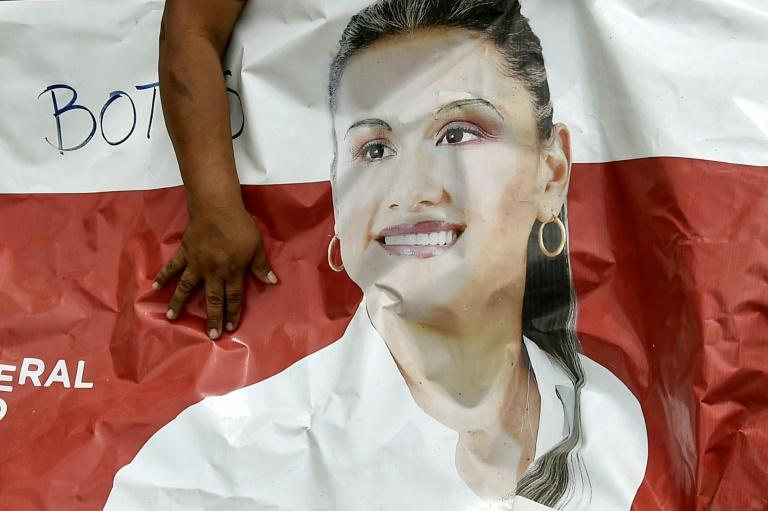 A poster shows the face of slain Colombian mayoral candidate Karina Garcia