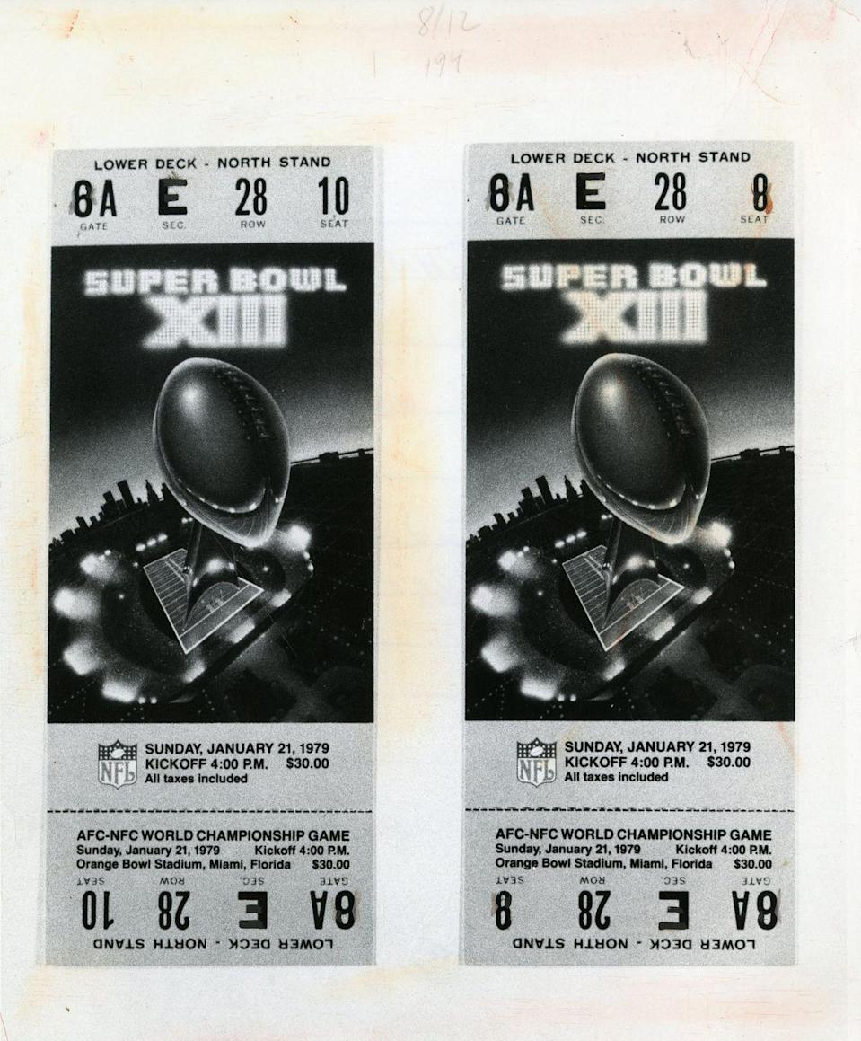 """<p>If you were lucky enough to get your hands on a pair of Super Bowl tickets back in the day, you could earn a big payout from holding onto them. Most of these paper tickets have a blue or yellow stripe on the top which, according to <a href=""""https://www.sportscollectorsdaily.com/super-bowl-ticket-stubs-printed-nostalgia/"""" rel=""""nofollow noopener"""" target=""""_blank"""" data-ylk=""""slk:Sports Collectors Daily"""" class=""""link rapid-noclick-resp"""">Sports Collectors Daily</a>, sell for between $200 to $1,000. If you held onto tickets with white stripes on top, you could make up to $4,000. Of course, it depends on the popularity of the game, as well. Super Bowl II and Super Bowl XII tickets are particularly rare. </p><p><strong>What it's worth: </strong>Up to $4,000</p>"""