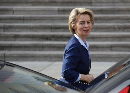 German Defence Minister Ursula von der Leyen arrives at the Presidential residence Bellevue Palace in Berlin, Germany, March 22, 2017.     REUTERS/Fabrizio Bensch