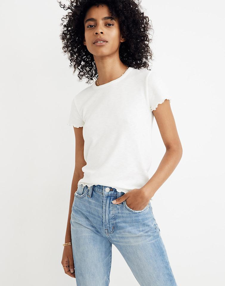 "$39.5, Madewell. <a href=""https://www.madewell.com/baby-tee-H8168.html"">Get it now!</a>"