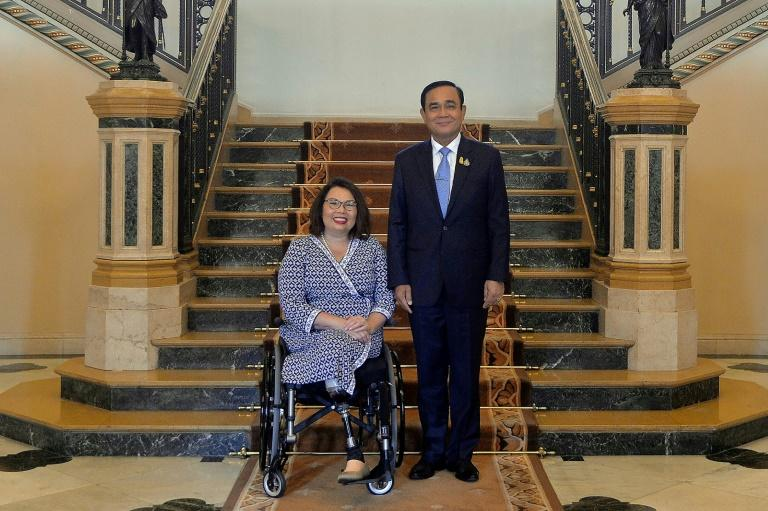 'Real democracy is messy,' said US Senator Tammy Duckworth on her visit to Thailand, where she met with Prime Minister Prayut Chan-O-Cha (AFP Photo/Handout)
