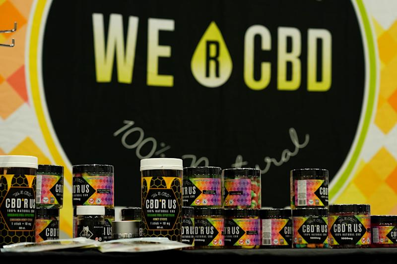 Products containing CBD are shown on display at the Cannabis World Congress and Business Exposition in Los Angeles, California, U.S., September 26, 2019. REUTERS/Mike Blake