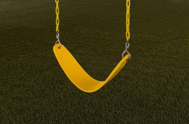 Plastic Belt Swing Seat with Chains. Image via Wayfair.