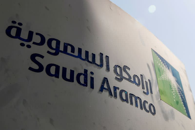 FILE PHOTO: Saudi Aramco logo is pictured at the oil facility in Khurais